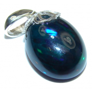 Authentic Black Opal .925 Sterling Silver handmade Pendant