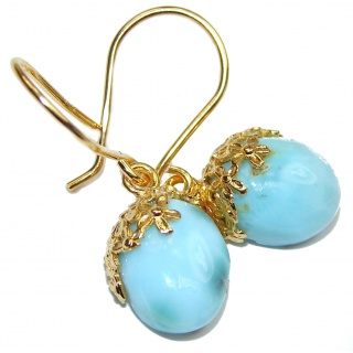 Sublime genuine Blue Larimar 18K Gold over .925 Sterling Silver handmade earrings