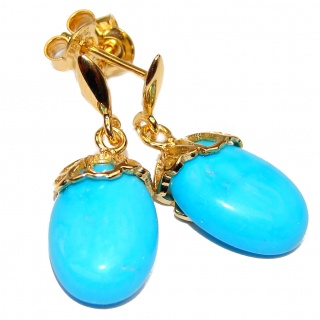 Genuine Sleeping Beauty Turquoise 18K gold over Sterling Silver handcrafted Earrings