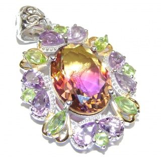 Deluxe oval cut Bi-color Ametrine 18K Gold over .925 Sterling Silver handmade Pendant