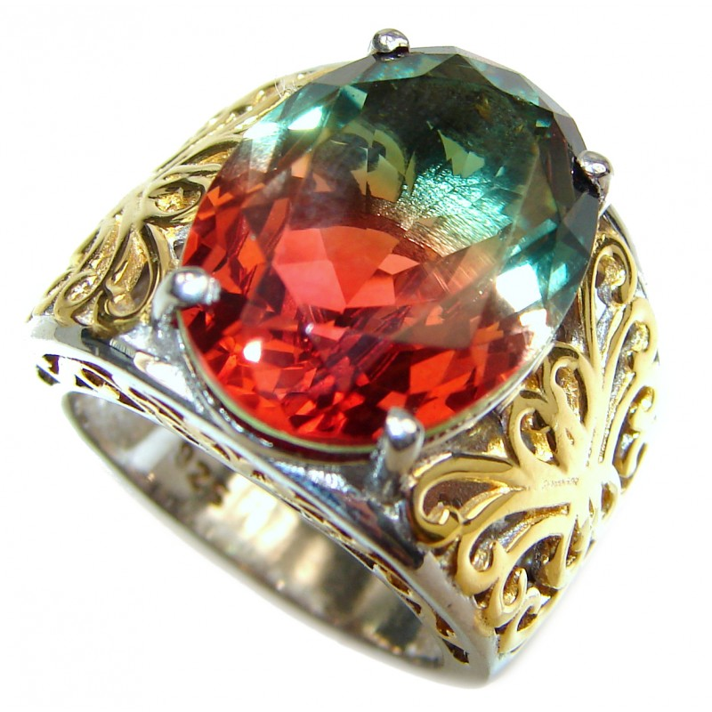 HUGE oval cut Tourmaline 18K Gold over .925 Sterling Silver handcrafted Ring s. 7
