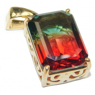 Deluxe Emerald cut Tourmaline 14K Gold over .925 Sterling Silver handmade Pendant