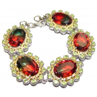 Luxury Vintage Design Watermelon Tourmaline 18K Gold over .925 Sterling Silver handmade Bracelet