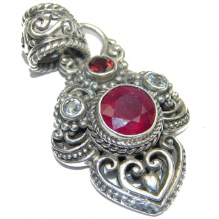 Spectacular Genuine Ruby .925 Sterling Silver handmade Pendant