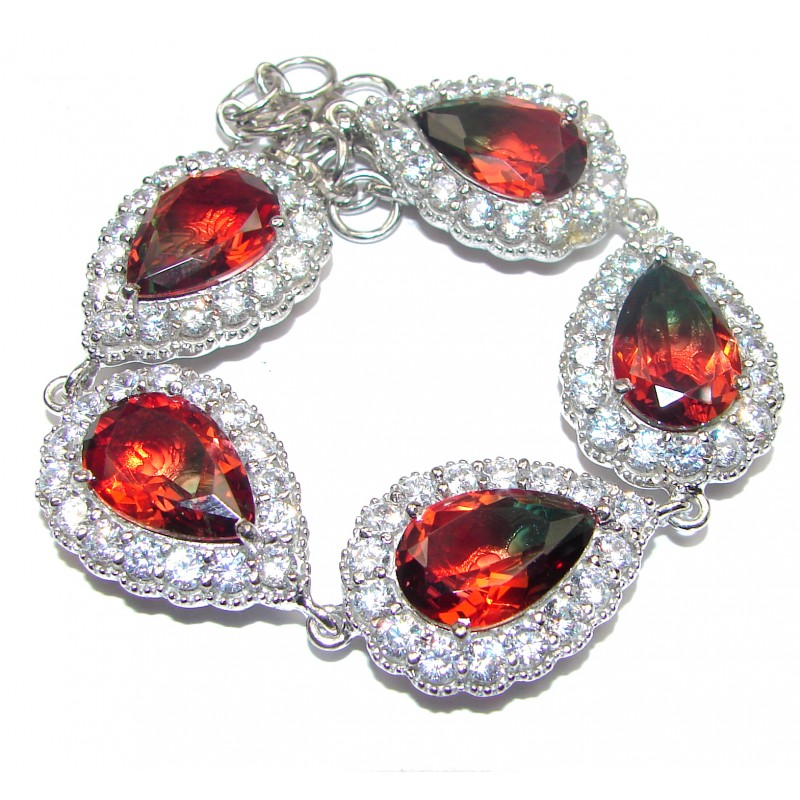 Large Luxury Watermelon Tourmaline .925 Sterling Silver handmade Bracelet