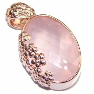 Perfect facteted Rose Quartz 18K Gold over .925 Sterling Silver handmade pendant