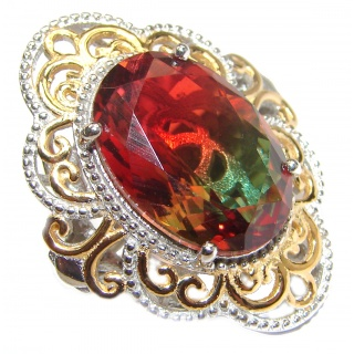 Huge Top Quality Volcanic Tourmaline 18K Gold over .925 Sterling Silver handcrafted Ring s. 6 1/2