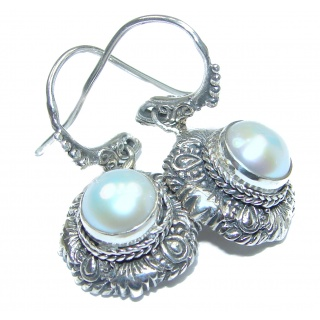 Bohemian style genuine Pearl .925 Sterling Silver handmade earrings