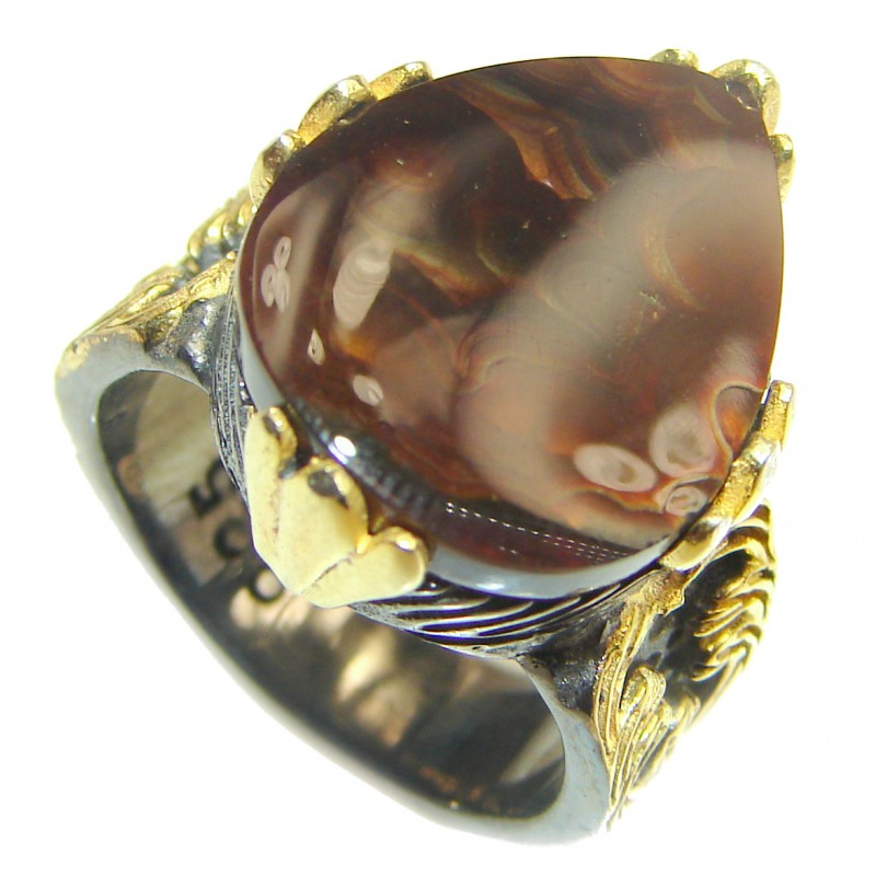 Pure Energy Genuine Fire Agate 18K Gold over .925 Sterling Silver handmade ring size 8