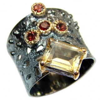 Vintage Style 9ct Natural Citrine 18ct Gold over .925 Sterling Silver handcrafted Ring s. 8