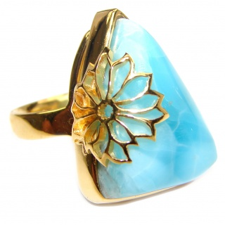 Beautiful design Natural Larimar .925 Sterling Silver handcrafted Ring s. 8 adjustable