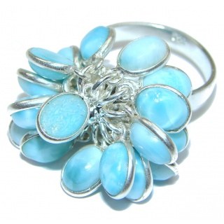 Fashion Beauty Larimar Sterling Silver cha -cha Ring s. 8 adjustable