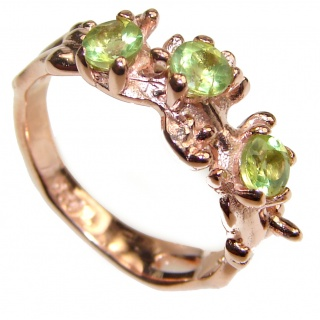 Energizing genuine Peridot .925 Sterling Silver handcrafted Ring size 7