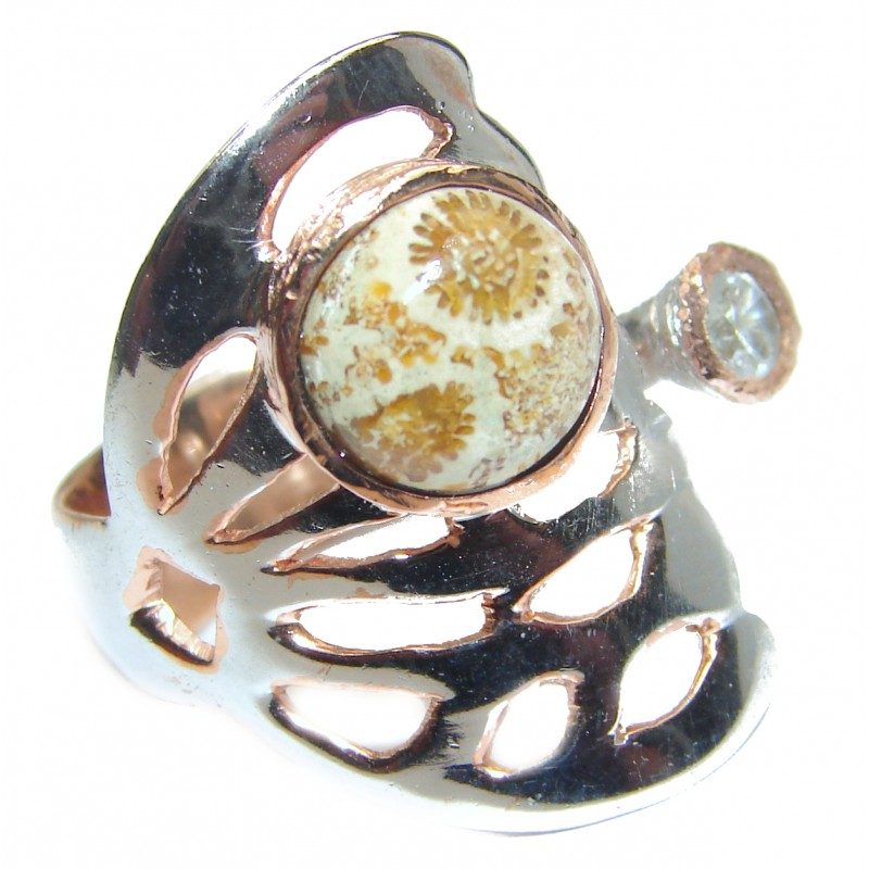 Natural Fossilized Coral .925 Sterling Silver handmade ring s. 6 adjustable