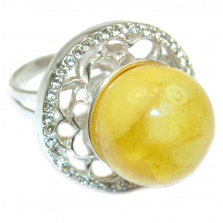 Huge Genuine Butterscotch Baltic Polish Amber .925 Sterling Silver handmade Ring size 8