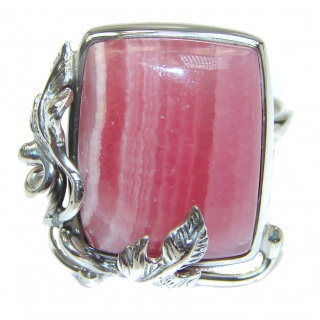 Argentinian Rhodochrosite .925 Sterling Silver handmade ring size 7 adjustable