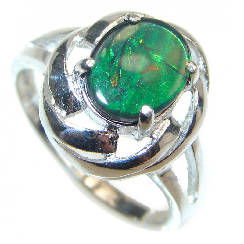 Pure Energy Genuine Canadian Ammolite .925 Sterling Silver handmade ring size 9
