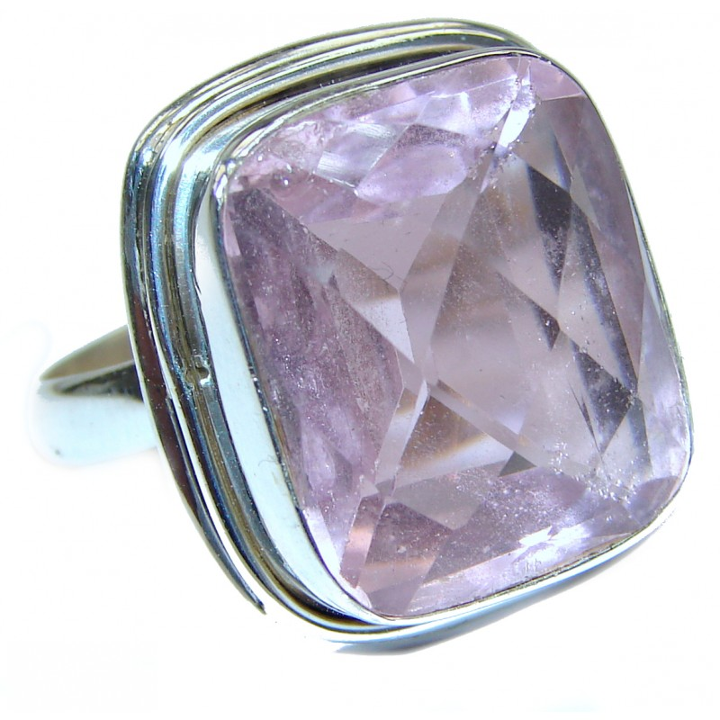 Pink Quartz oxidized .925 Sterling Silver handcrafted ring size 8 3/4