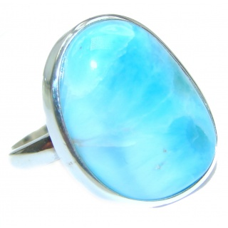 Simple Design Natural Larimar .925 Sterling Silver handcrafted Ring s. 8 adjustable