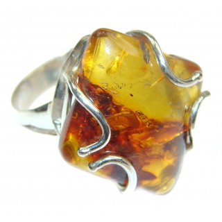 Huge Authentic Baltic Amber .925 Sterling Silver handcrafted ring; s. 9