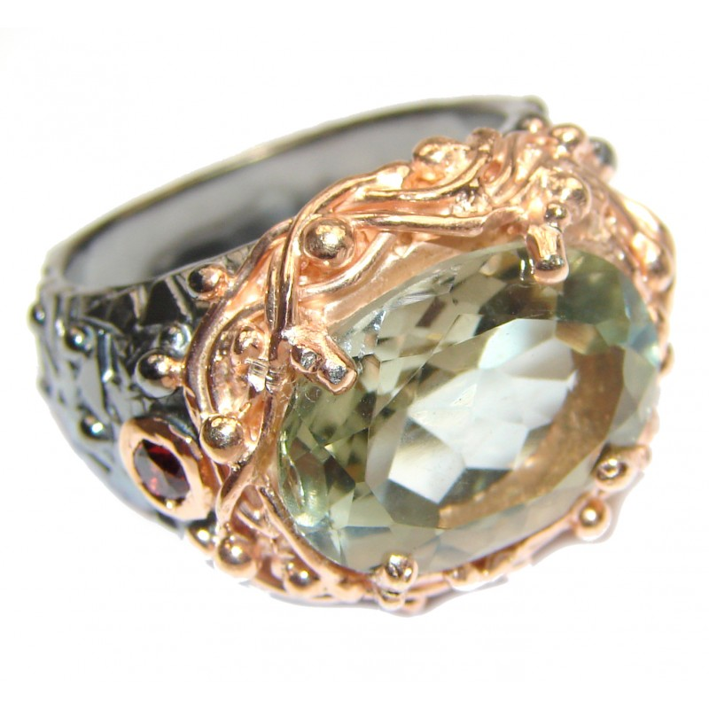 Natural Green Amethyst 14K Gold over .925 Sterling Silver handmade Cocktail Ring s. 8 1/2