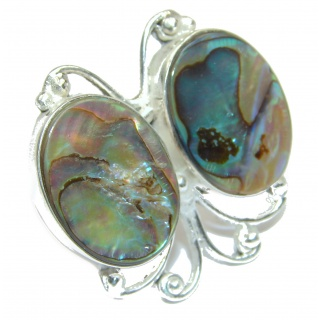 Authentic Rainbow Abalone Sterling Silver handmade Ring s. 8