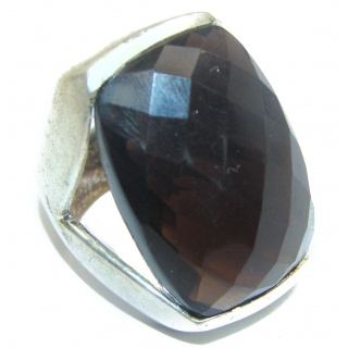 Huge Authentic Smoky Topaz .925 Sterling Silver handcrafted ring; s. 6 1/4