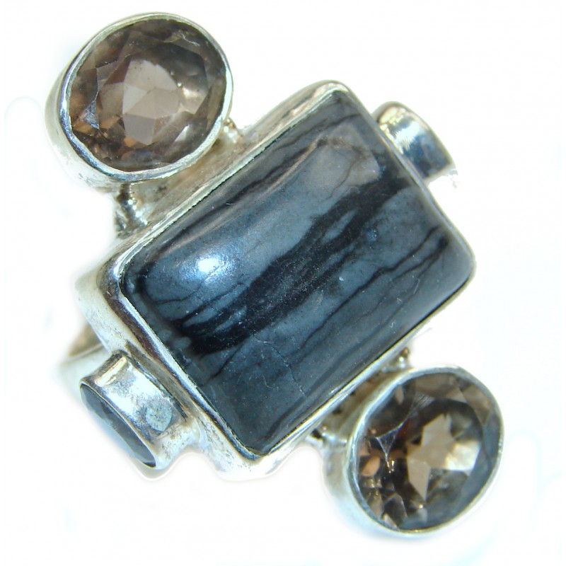 Totally Oversized AAA Iron Tigers Eye Sterling Silver ring s. 7