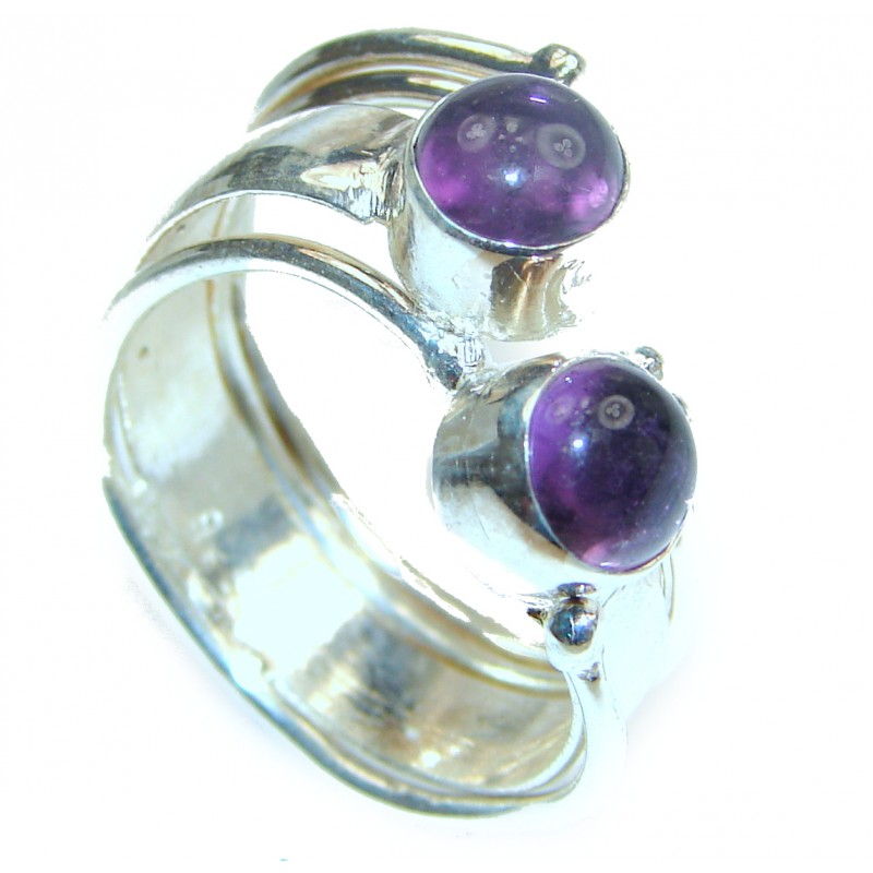 Spectacular genuine Amethyst .925 Sterling Silver handcrafted Ring size 7