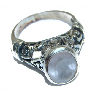 Large Authentic Rose Quartz .925 Sterling Silver handcrafted ring s. 7