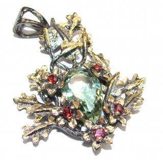 Back to Nature Green Amethyst 18K Gold over .925 Sterling Silver handcrafted pendant