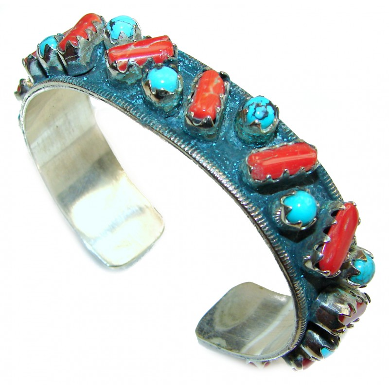 Jumbo Boho style Genuine Turquoise Coral .925 Sterling Silver handmade Bracelet / Cuff