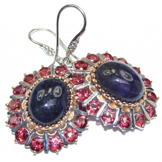 Large Juicy Amethyst Garnet 18k Gold over .925 Sterling Silver handmade Earrings