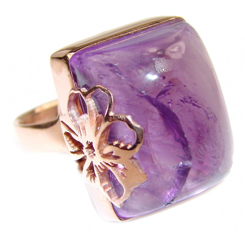 Large Spectacular genuine Amethyst 18K Gold over .925 Sterling Silver handcrafted Ring size 7 adjustable