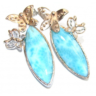 Blue Larimar 18K Gold over .925 Sterling Silver stud earrings