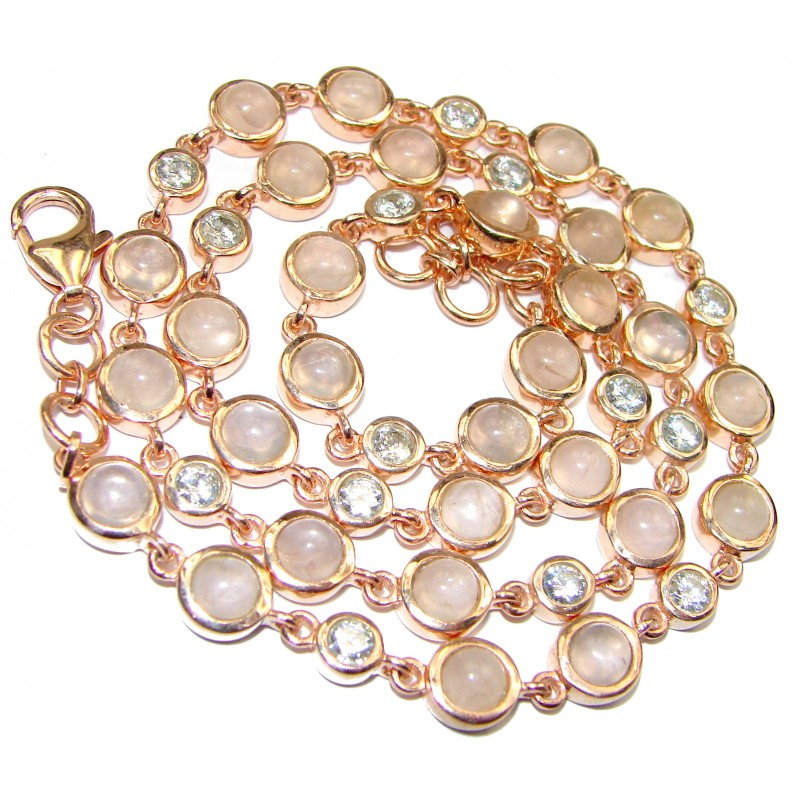 Great Masterpiece genuine Rose Quartz 18K Gold over .925 Sterling Silver handmade necklace