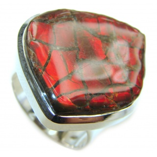 Genuine Canadian Ammolite .925 Sterling Silver handmade ring size 9
