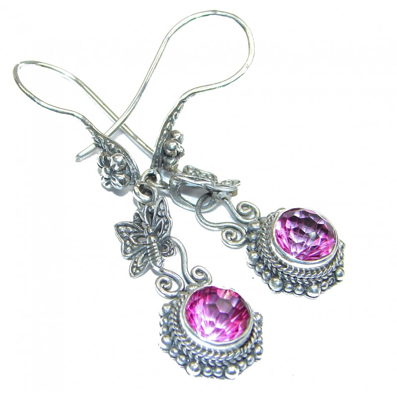 Pink Topaz .925 Sterling Silver entirely handmade earrings