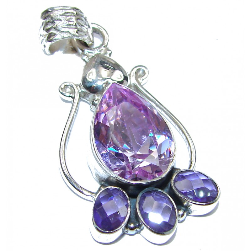 Victorian Style Great Cubic Zirconia .925 Sterling Silver Pendant