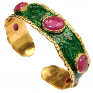 Stunning Authentic Red Ruby Nacre 18K Gold over .925 Sterling Silver handcrafted Statement Bracelet / Cuff
