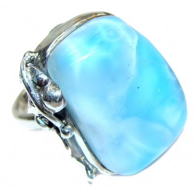 Vintage Design Natural Larimar .925 Sterling Silver handcrafted Ring s. 6 3/4