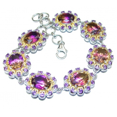 Luxury Ametrine 18K Gold over .925 Sterling Silver handmade Bracelet