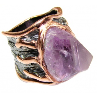 Jumbo! Vintage Style Rough Amethyst .925 Sterling Silver handmade Cocktail Ring s. 7 1/2