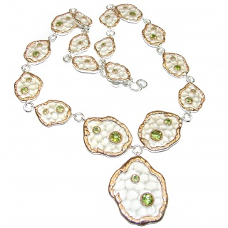 Masterpiece Peridot 18K Gold & antique patina over .925 Sterling Silver handcrafted necklace