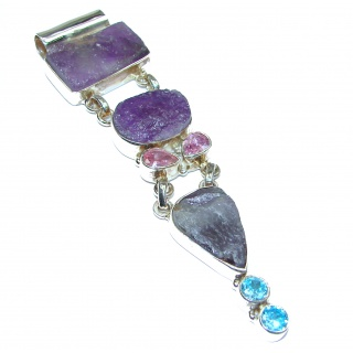 Huge Rough Amethyst .925 Sterling Silver Pendant