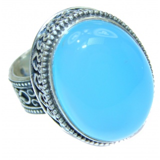 Huge Blue Chalcedony Agate .925 Sterling Silver handcrafted Ring s. 6 1/4