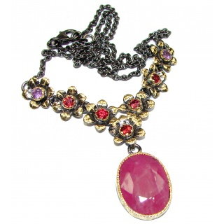 Genuine Ruby 18K Gold over .925 Sterling Silver handcrafted necklace