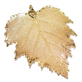 Huge Stylish Deeped In Copper Leaf & .925 Sterling Silver Pendant