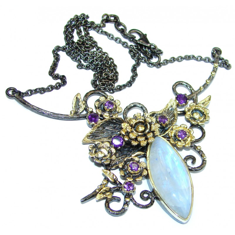 Dramatic Design Fire Moonstone 18K Gold over .925 Sterling Silver handcrafted necklace
