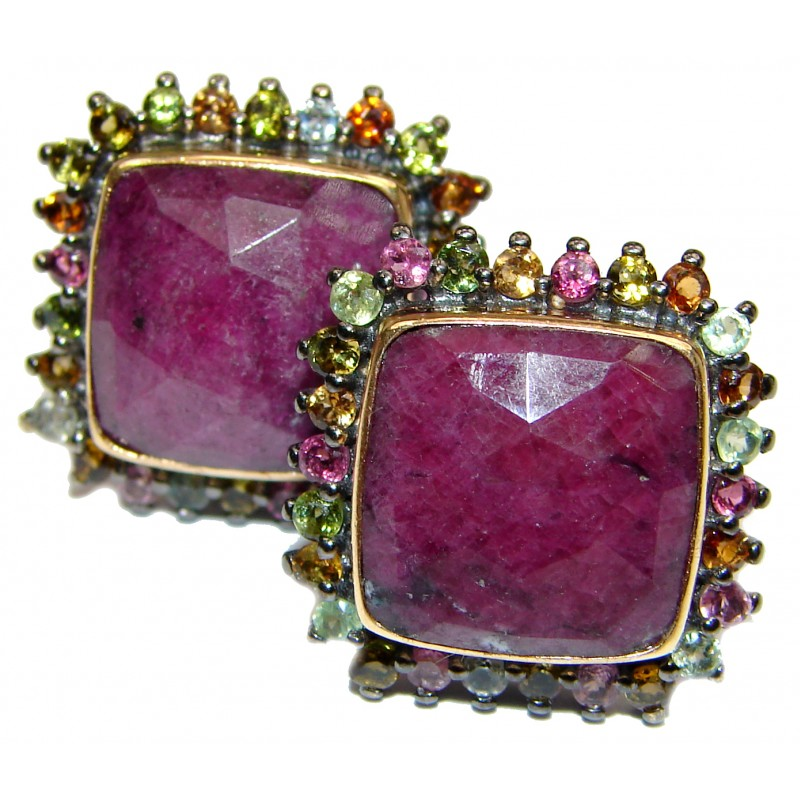 Authentic Ruby 24K Gold Rhodium over .925 Sterling Silver handmade earrings